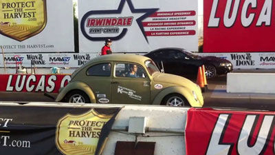 Kaddie Shack Power 2 liter 1968cc vw bug racing Jake Jacome Kadron carbs versus mustang at drag strip